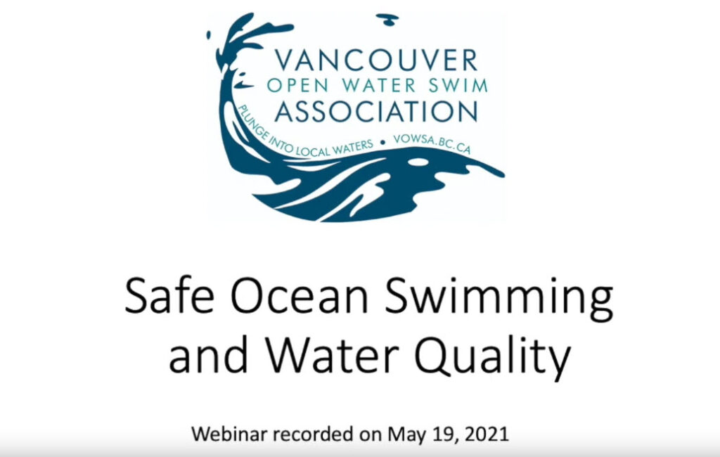 First slide for the presentation, says Safe Ocean Swimming and Water Quality, May 21 2021, from VOWSA